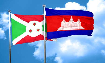 cambodia: Burundi flag with Cambodia flag, 3D rendering
