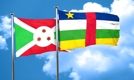 central african republic: Burundi flag with Central African Republic flag, 3D rendering