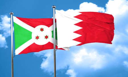 burundi: Burundi flag with Bahrain flag, 3D rendering