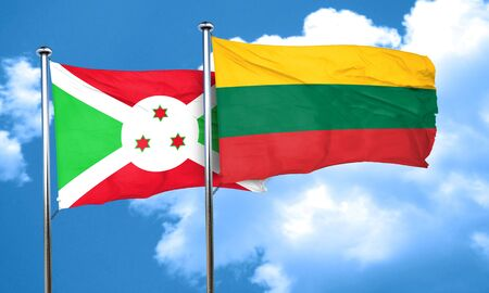 burundi: Burundi flag with Lithuania flag, 3D rendering Stock Photo