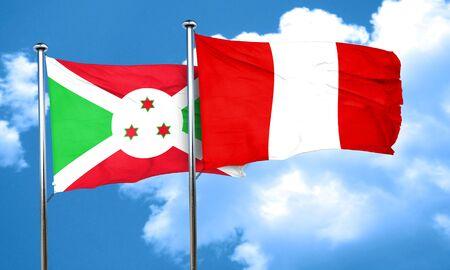 burundi: Burundi flag with Peru flag, 3D rendering