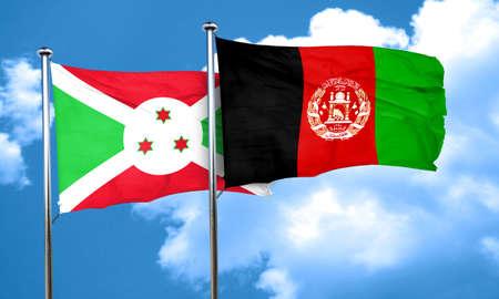 Burundi flag with afghanistan flag, 3D rendering