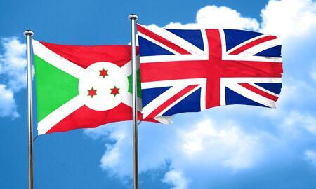 britain flag: Burundi flag with Great Britain flag, 3D rendering Stock Photo