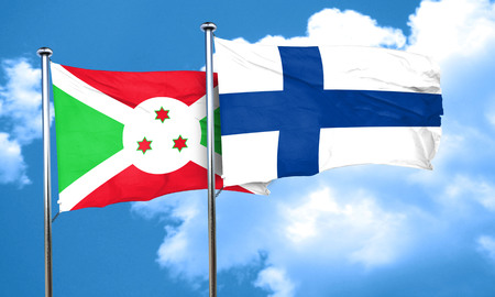 finland flag: Burundi flag with Finland flag, 3D rendering