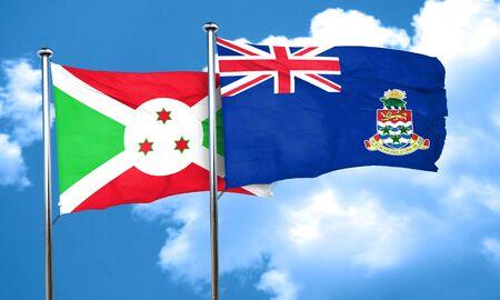 cayman: Burundi flag with Cayman islands flag, 3D rendering Stock Photo