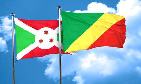 congo: Burundi flag with congo flag, 3D rendering Stock Photo