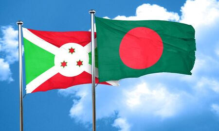 bangladesh: Burundi flag with Bangladesh flag, 3D rendering