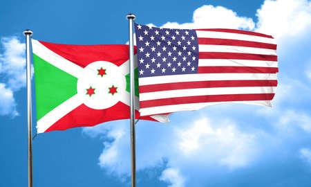 burundi: Burundi flag with American flag, 3D rendering