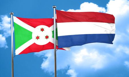 netherlands flag: Burundi flag with Netherlands flag, 3D rendering