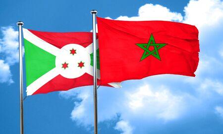 burundi: Burundi flag with Morocco flag, 3D rendering Stock Photo
