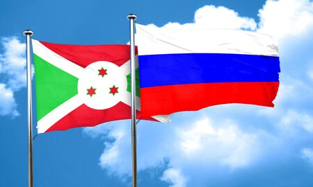 russia flag: Burundi flag with Russia flag, 3D rendering