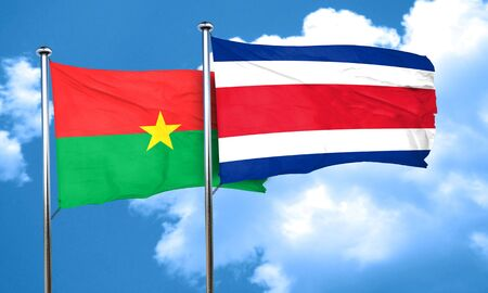rican: Burkina Faso flag with Costa Rica flag, 3D rendering