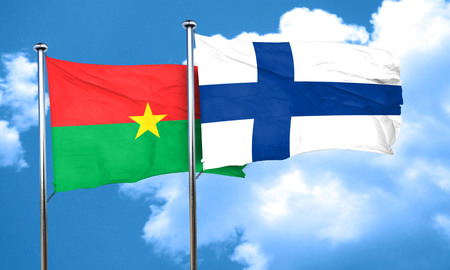 finland flag: Burkina Faso flag with Finland flag, 3D rendering