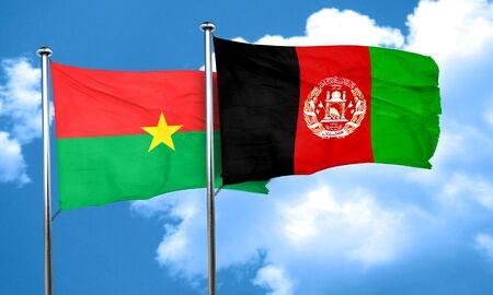 afghanistan flag: Burkina Faso flag with afghanistan flag, 3D rendering
