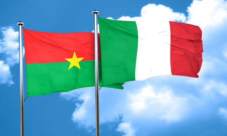 italian politics: Burkina Faso flag with Italy flag, 3D rendering Stock Photo