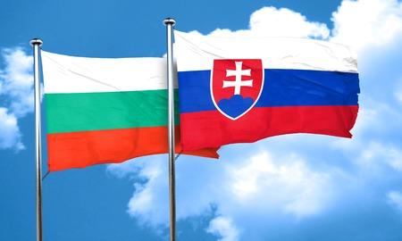 slovakia flag: bulgaria flag with Slovakia flag, 3D rendering