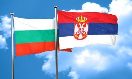serbia flag: bulgaria flag with Serbia flag, 3D rendering Stock Photo