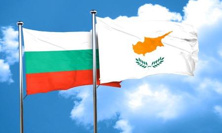 bulgaria: bulgaria flag with Cyprus flag, 3D rendering