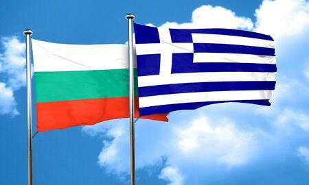 bulgaria: bulgaria flag with Greece flag, 3D rendering