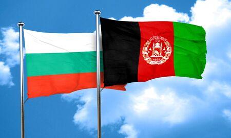 bulgaria flag with afghanistan flag, 3D rendering