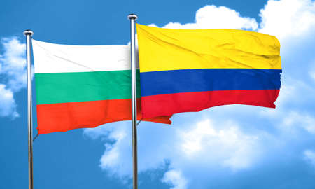 colombia flag: bulgaria flag with Colombia flag, 3D rendering