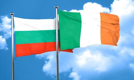 ireland flag: bulgaria flag with Ireland flag, 3D rendering