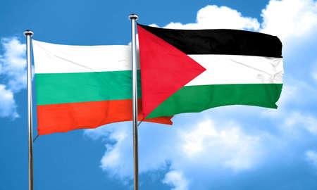 bulgaria: bulgaria flag with Palestine flag, 3D rendering