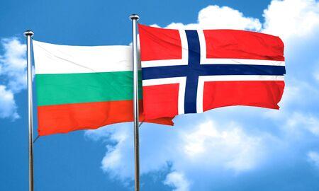 norway flag: bulgaria flag with Norway flag, 3D rendering