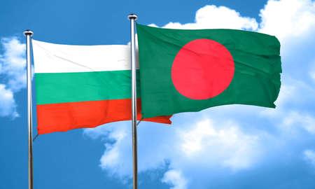 bulgaria: bulgaria flag with Bangladesh flag, 3D rendering