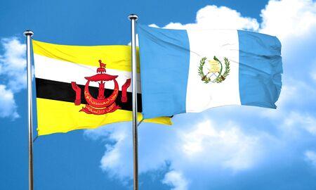bandera de guatemala: bandera de Brunei con la bandera de Guatemala, representación 3D