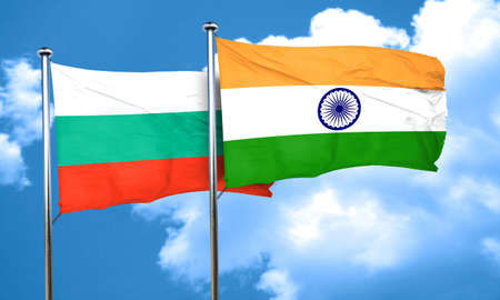 india 3d: bulgaria flag with India flag, 3D rendering