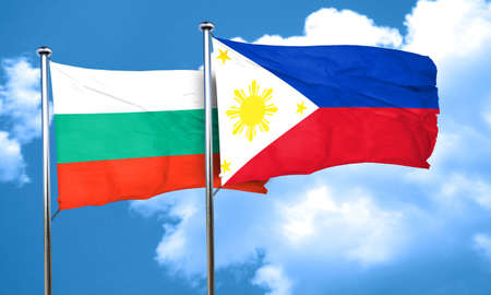 philippino: bulgaria flag with Philippines flag, 3D rendering Stock Photo