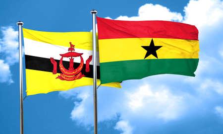 ghanese: Brunei flag with Ghana flag, 3D rendering