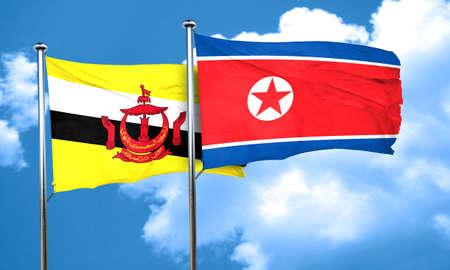 korea flag: Brunei flag with North Korea flag, 3D rendering