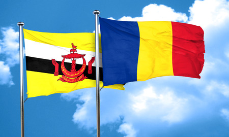 romania flag: Brunei flag with Romania flag, 3D rendering