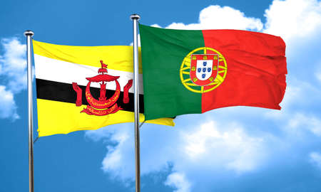 portugal flag: Brunei flag with Portugal flag, 3D rendering Stock Photo