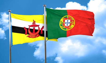 drapeau portugal: drapeau Brunei avec le Portugal drapeau, rendu 3D Banque d'images