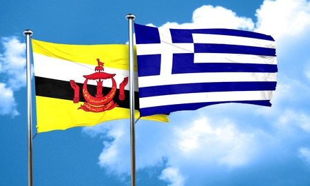 greece flag: Brunei flag with Greece flag, 3D rendering