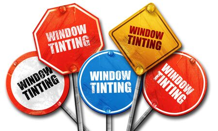 tinting: window tinting, 3D rendering, street signs