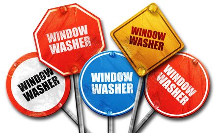 window washer: window washer, 3D rendering, street signs Stock Photo