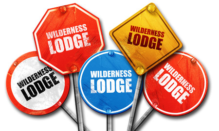 ski lodge: wilderness lodge, 3D rendering, street signs Stock Photo