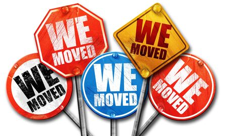 we: we moved, 3D rendering, street signs Stock Photo