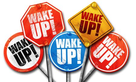 warning back: wake up, 3D rendering, street signs Stock Photo
