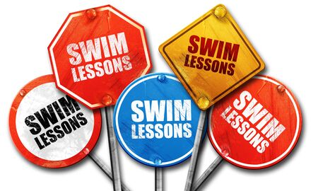 lessons: swim lessons, 3D rendering, street signs