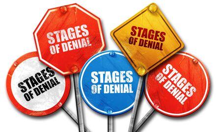 denial: stages of denial, 3D rendering, street signs