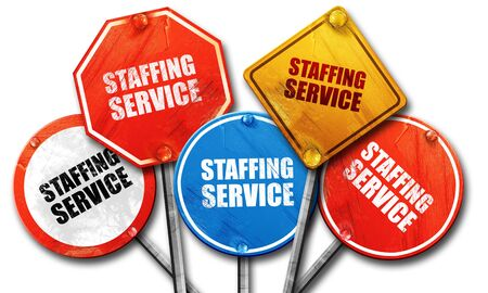 staffing: staffing service, 3D rendering, street signs Stock Photo