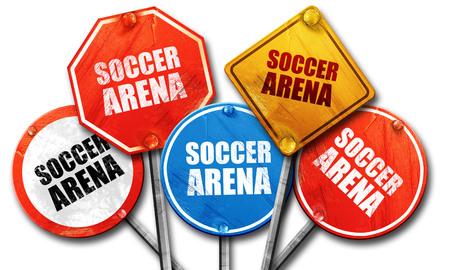 warning fans: soccer arena, 3D rendering, street signs