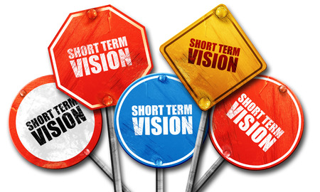 term: short term vision, 3D rendering, street signs Stock Photo