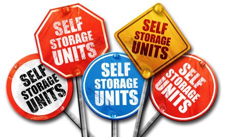 storage units: self storage units, 3D rendering, street signs