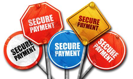 secure payment: secure payment, 3D rendering, street signs